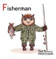 Alphabet professions owl letter f - fisherman vector