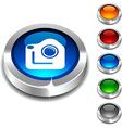 Photo 3d button vector