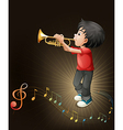 A young man playing with his trombone vector