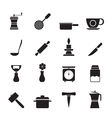 Silhouette kitchen and household tools icons vector