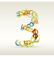Number three made from colorful numbers vector