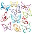 Set abstract butterflies vector
