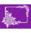 Frame with abstract flowers on lilac background vector