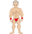 Cartoon muscled old man vector