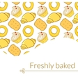 Delicious pastries in doodle style with place for vector