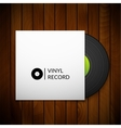 Black vintage vinyl record with blank cover case vector