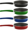 Colourful frying pans vector