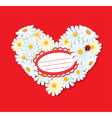 Heart is made of daisies on a red background vector