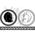 Fantasy ancient helmets stencil second variant vector
