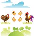 Set of chicken and hen vector