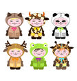 Six children in costumes of animals vector