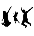 Jumping family silhouette vector