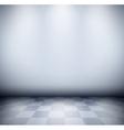 Dark misty room with checkered floor vector