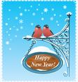 2 bullfinches - happy new year card vector