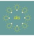 Yellow empty light bulb round frame idea concept vector