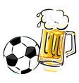 Soccer ball and beer vector