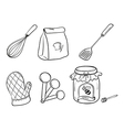 A doodle set of kitchen utensils baking powder and vector