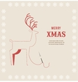 Stitch embroidered christmas deer on greeting card vector