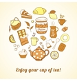Tea and sweets icons set vector