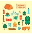 Camping equipment icons vector