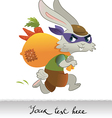 Rabbit running away with bag full of carrots vector