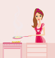 Beautiful lady cooking in the kitchen vector