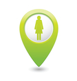Woman icon green map pointer vector