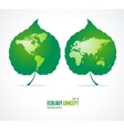 Green leaves like globe and world map eco concept vector