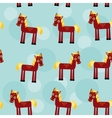 Brown horse with yellow mane seamless pattern with vector
