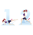 Beautiful woman doing exercises sequence numbers vector