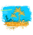 Tropical girl silhouette grunge poster vector