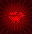 Red ruby diamond beams vector