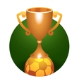 Soccer ball trophy bronze cup vector