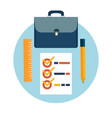 Briefcase pencil and ruler icons vector