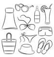 A set of beach accessories vector