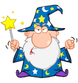 Angry wizard waving with magic wand vector