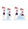 Woman doing exercises yoga routine steps vector