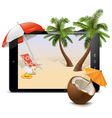 Tablet pc with tropical resort vector