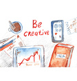Creative process banner with office table vector