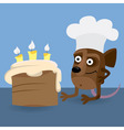Mouse looking at birthday cake vector