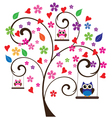 Tree floral owl vector