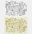 Doodle monsters fantasy vector