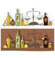 Historial medicines and chemists scales vector