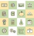 Money finance icons flat line vector