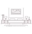 Bedroom furniture outline vector