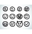 Hand drawn smile face design elements vector