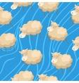 Seamless lambs clouds wallpaper vector
