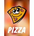 Funny cartoon pizza slice vector