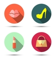 Flat icons with womens accessories vector