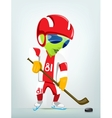 Cartoon alien ice hockey vector